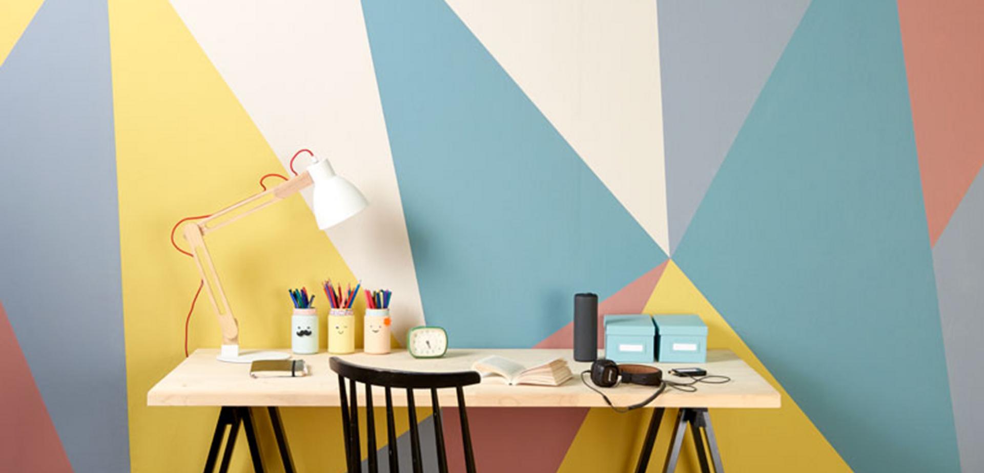 Muren Afplakken Schilderen.Muur Schilderen In Geometrische Vormen Voor De Makers