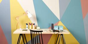 Muur schilderen in geometrische vormen