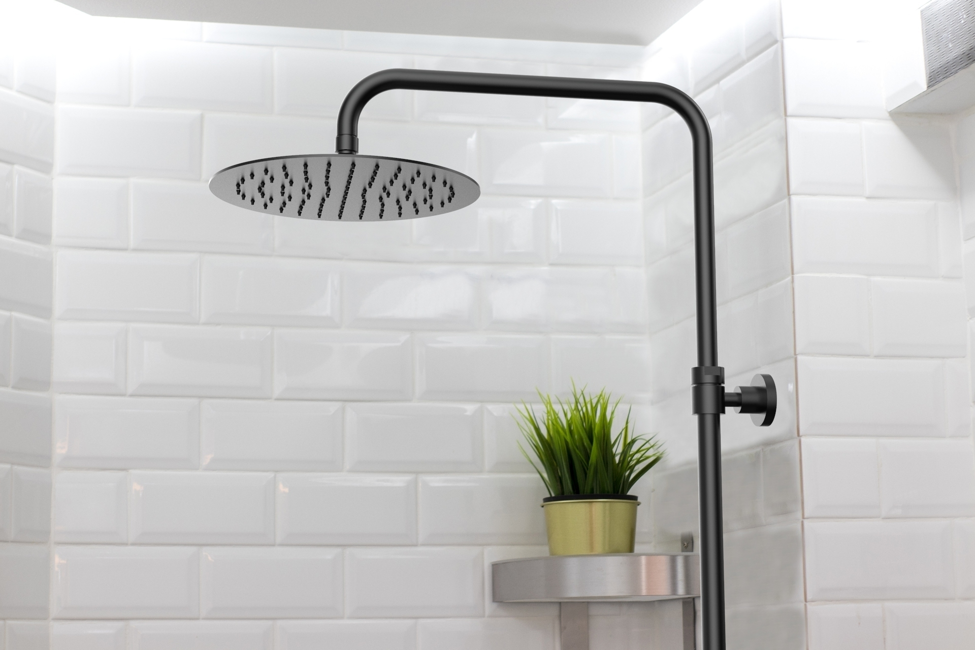 Le noir dans la salle de bains